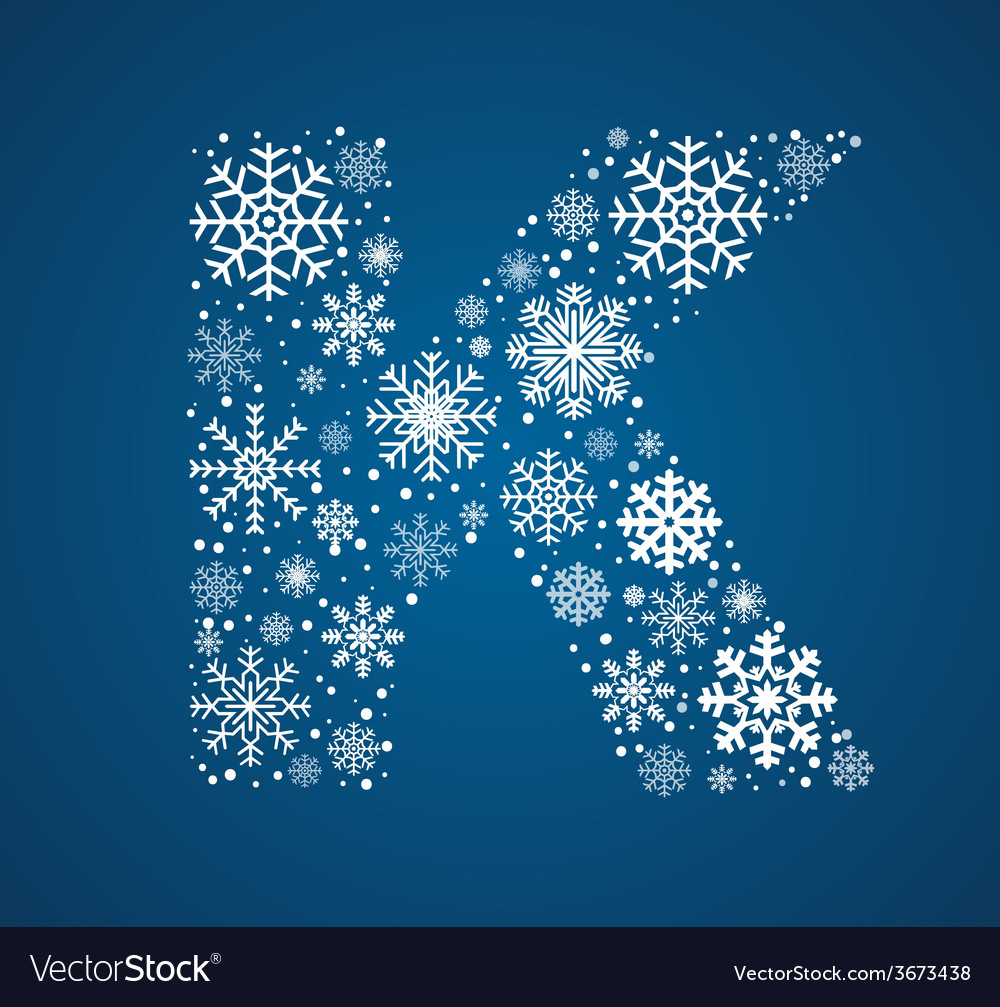 Letter k font frosty snowflakes vector   Price: 1 Credit (USD $1)