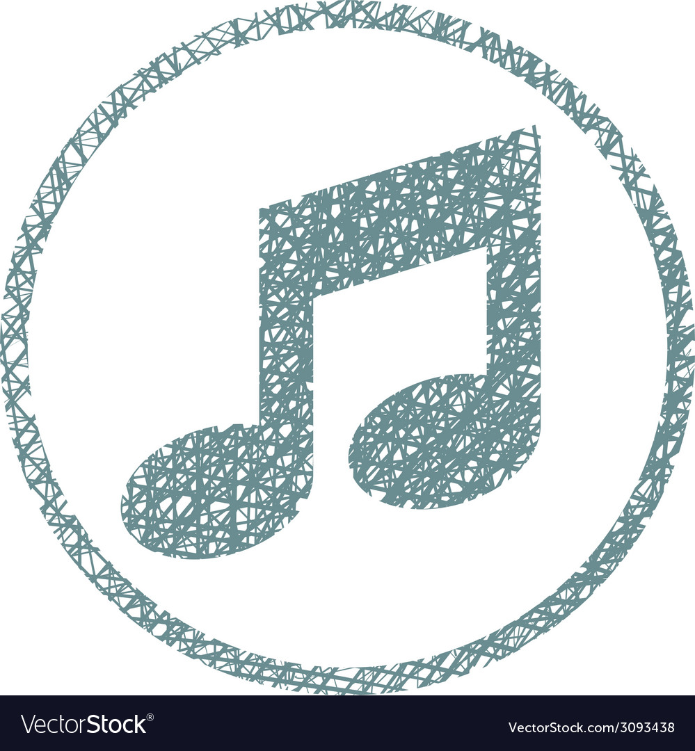 Musical note icon with hand drawn lines texture vector | Price: 1 Credit (USD $1)