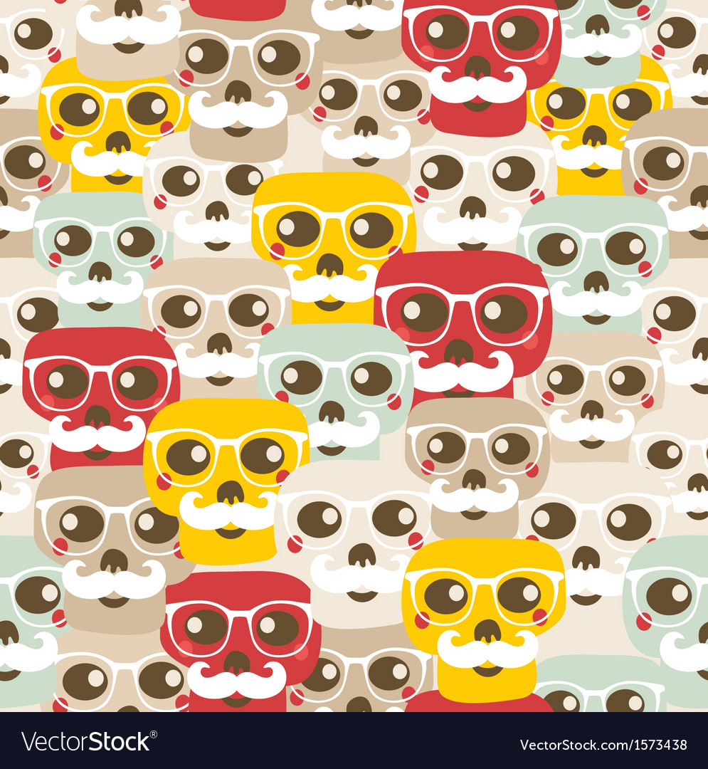 Seamless pattern with funny skulls vector | Price: 1 Credit (USD $1)