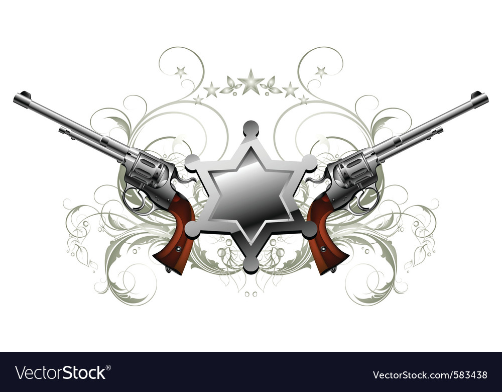 Sheriff star with guns vector   Price: 3 Credit (USD $3)