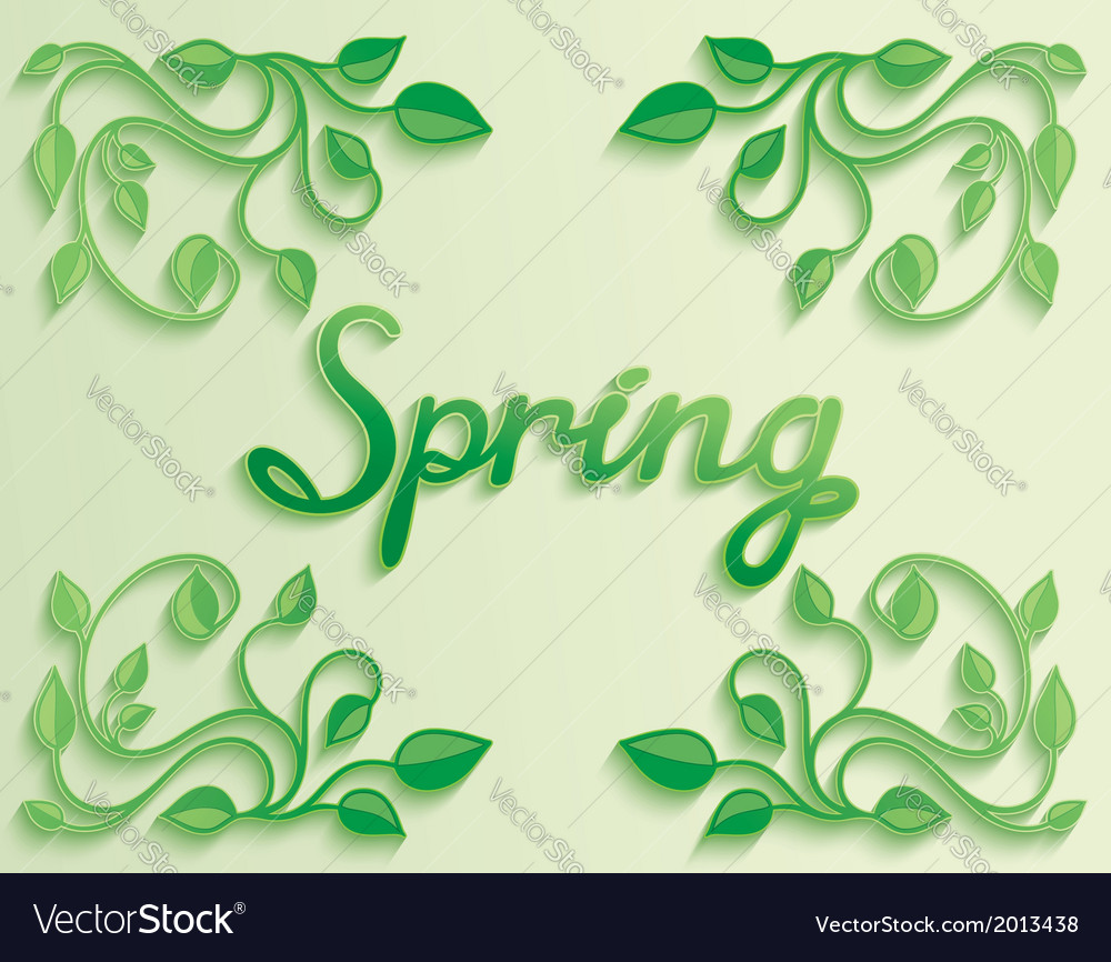 Spring word with leaves composition around vector | Price: 1 Credit (USD $1)