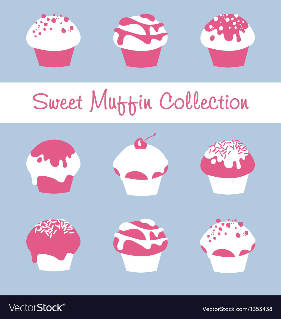 Sweet muffin collection vector | Price: 1 Credit (USD $1)