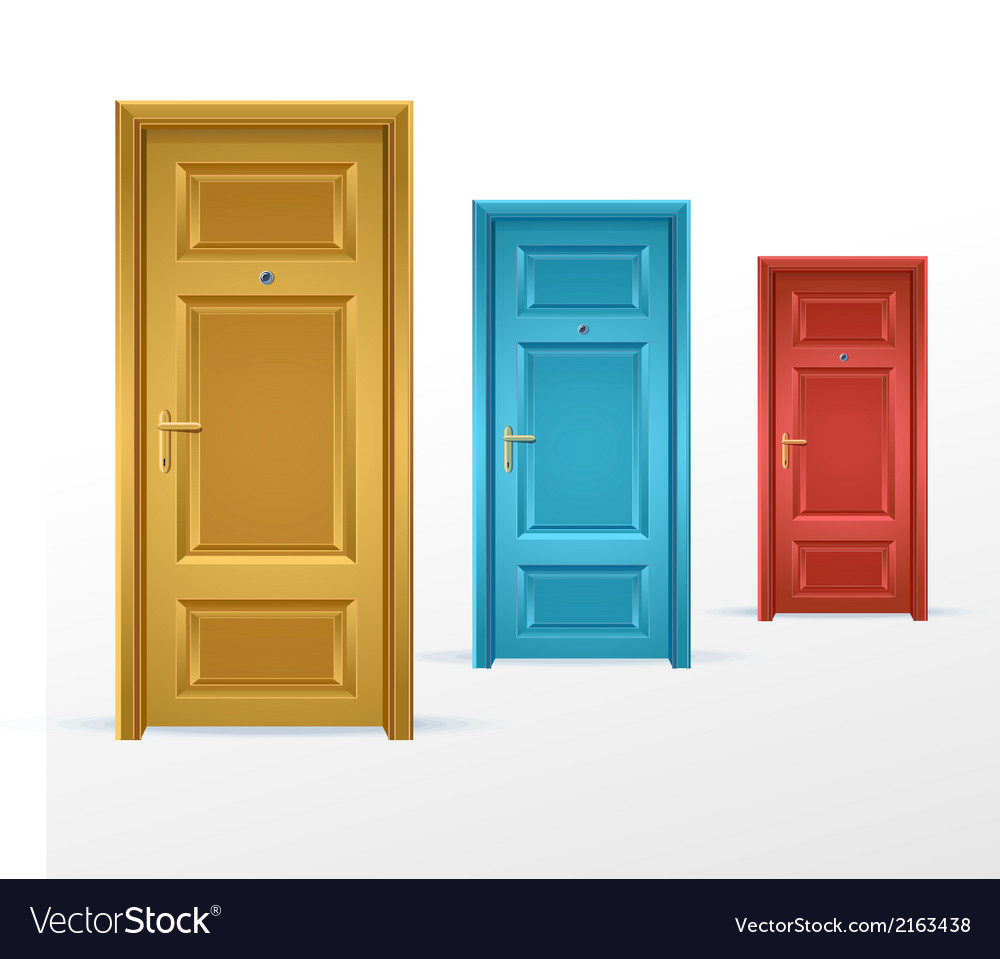 Three doors blue red and yellow vector | Price: 1 Credit (USD $1)