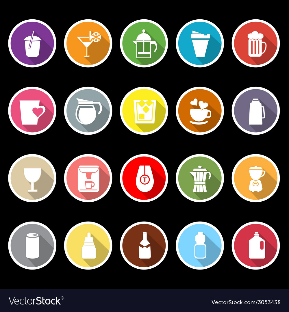 Variety drink icons with long shadow vector | Price: 1 Credit (USD $1)