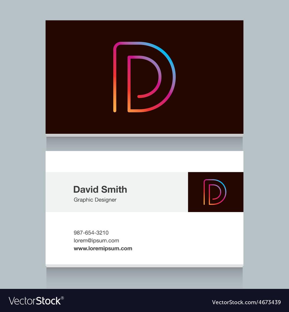 Business card letter d vector