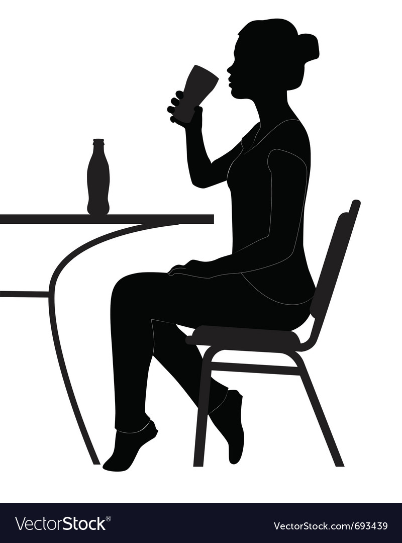 Cafe girl drinking sihouette vector | Price: 1 Credit (USD $1)