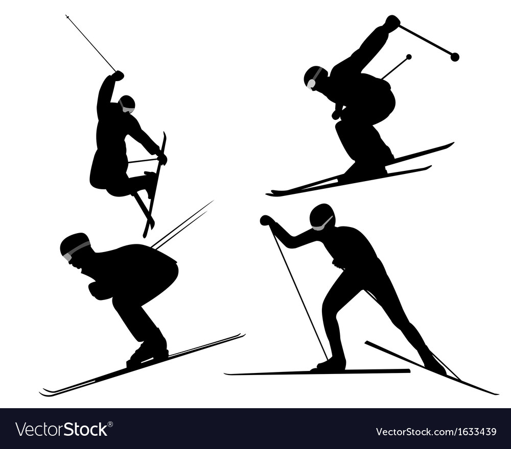 Four skiers vector | Price: 1 Credit (USD $1)