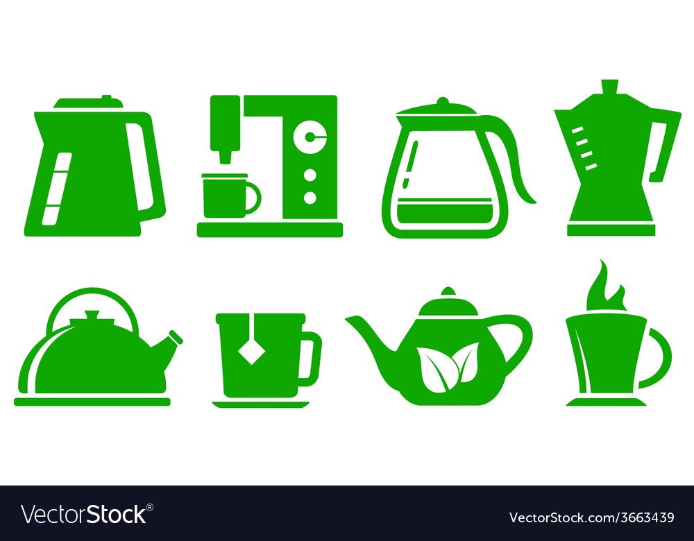 Green icons kettle set vector | Price: 1 Credit (USD $1)