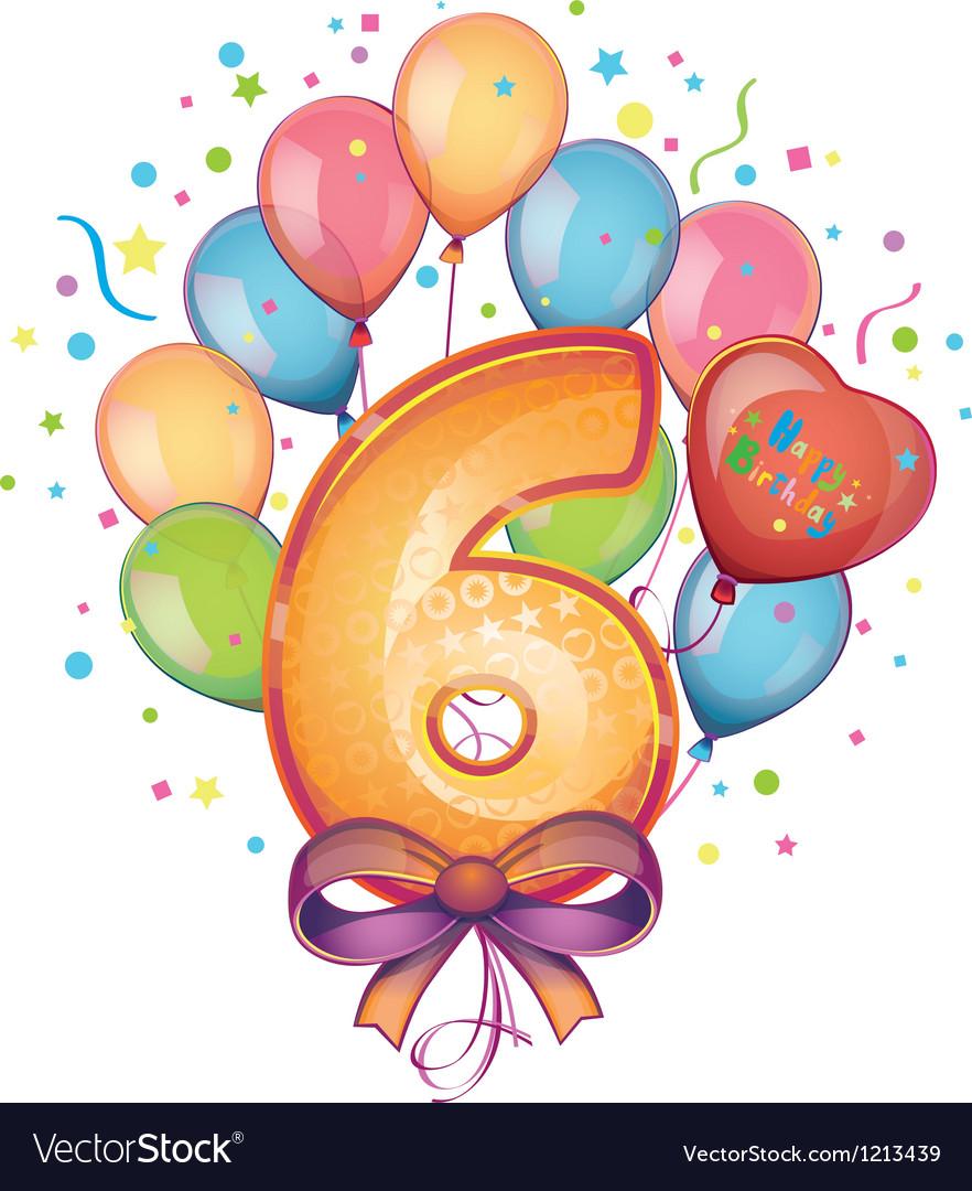 Happy birthday six vector | Price: 1 Credit (USD $1)