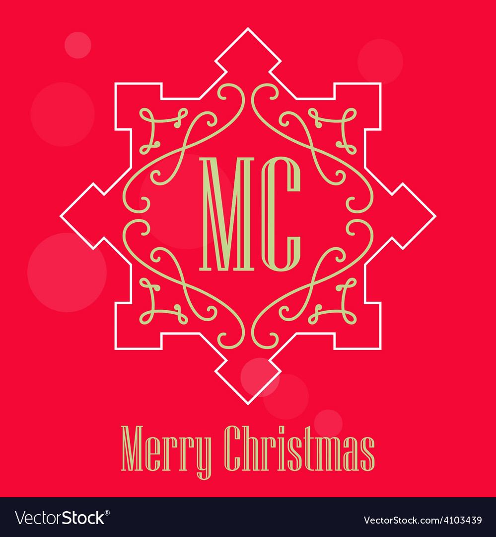 Modern christmas festive card monograms style vector | Price: 1 Credit (USD $1)
