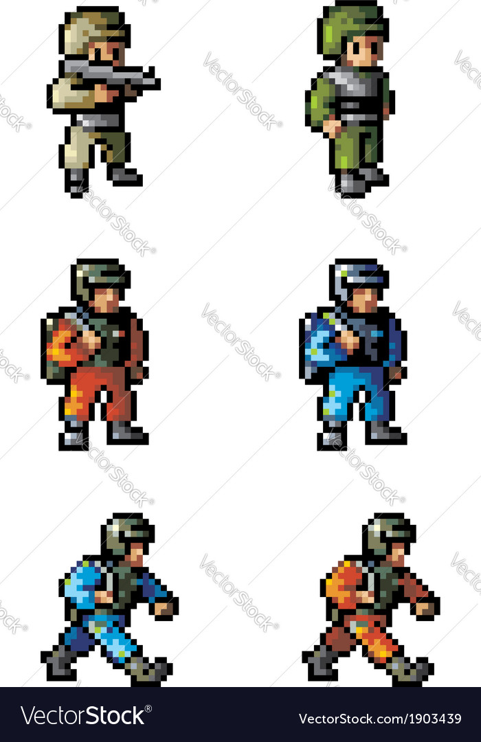 Pixel soldier vector | Price: 1 Credit (USD $1)