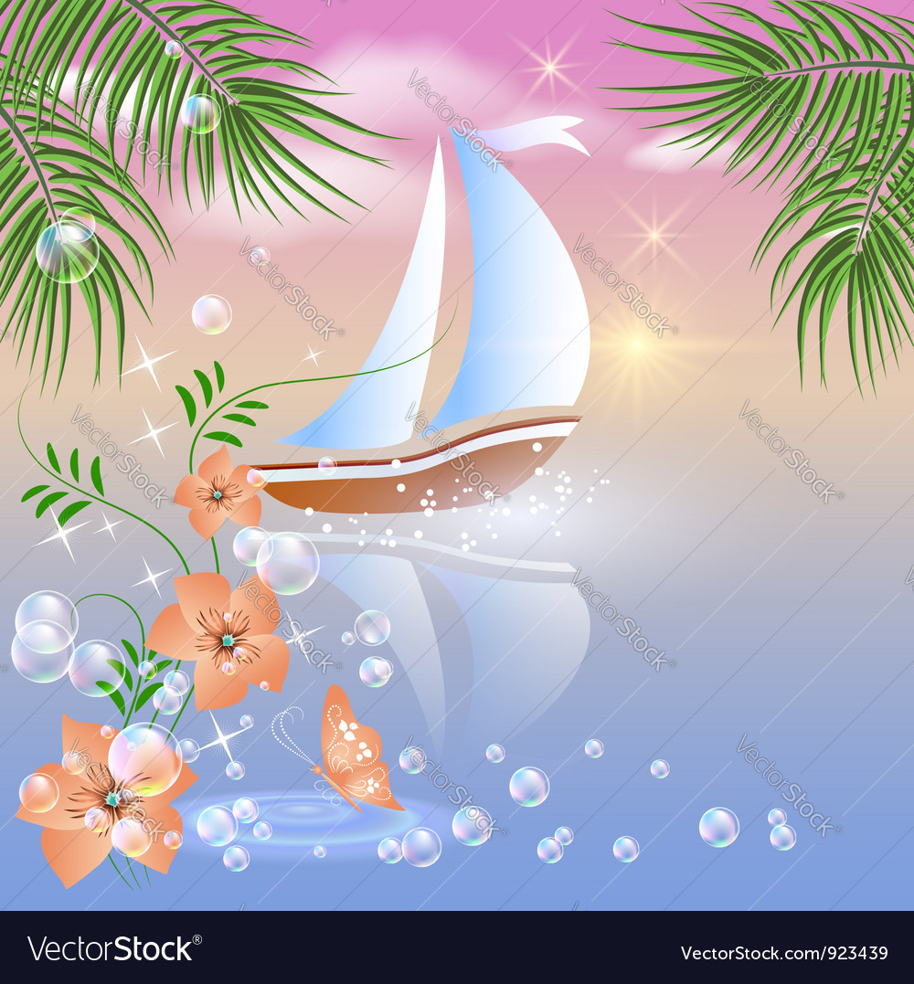 Sailboat floats on the sea vector | Price: 1 Credit (USD $1)