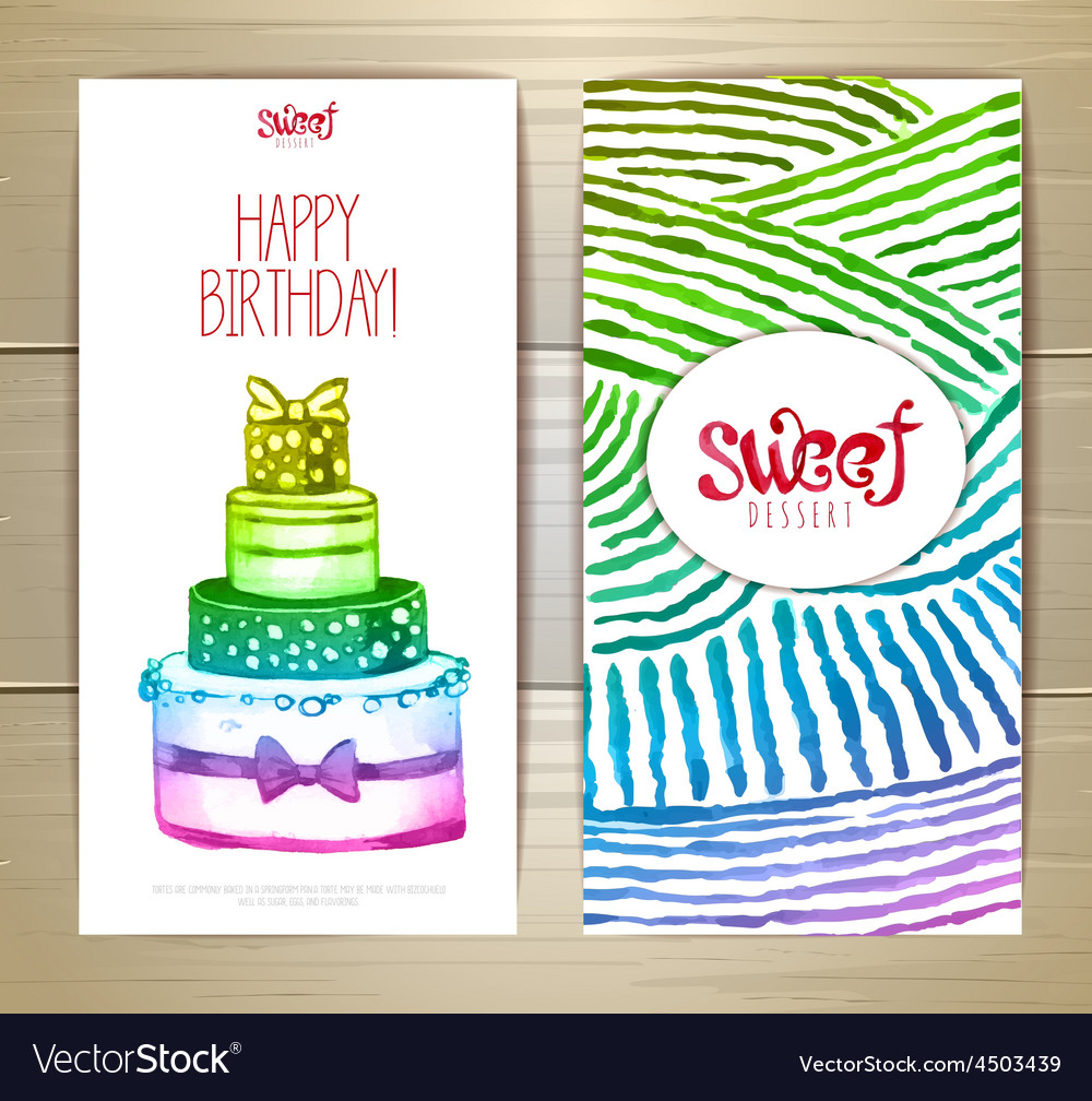 Set of art cake or dessert banners vector | Price: 3 Credit (USD $3)