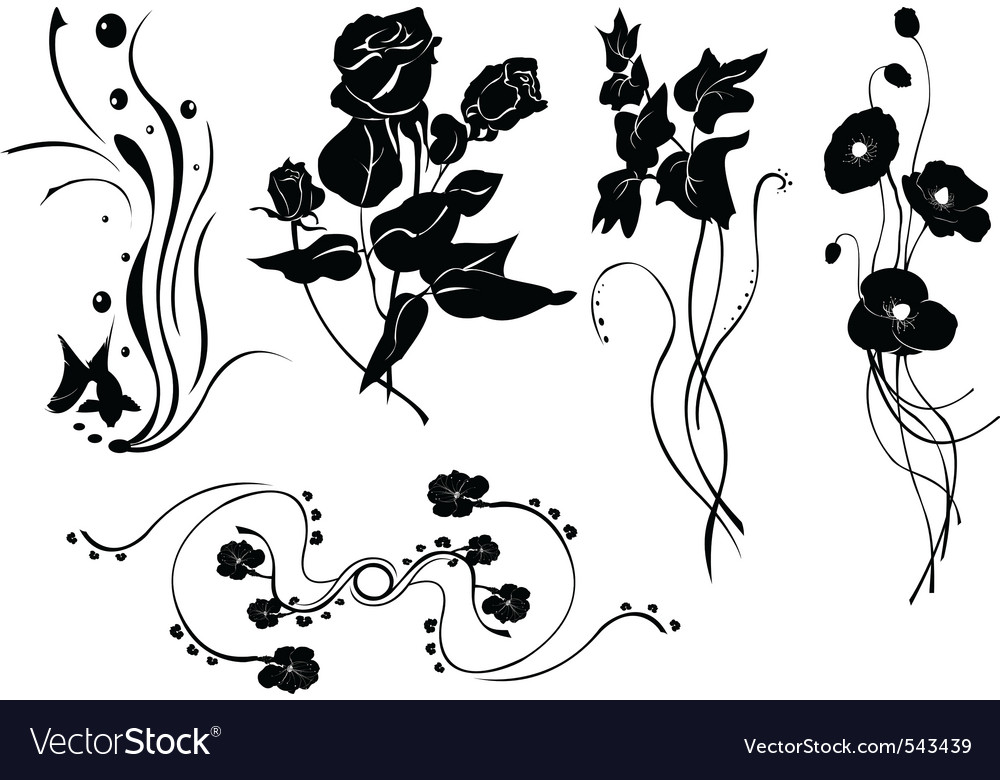 Simple floral elements vector | Price: 1 Credit (USD $1)