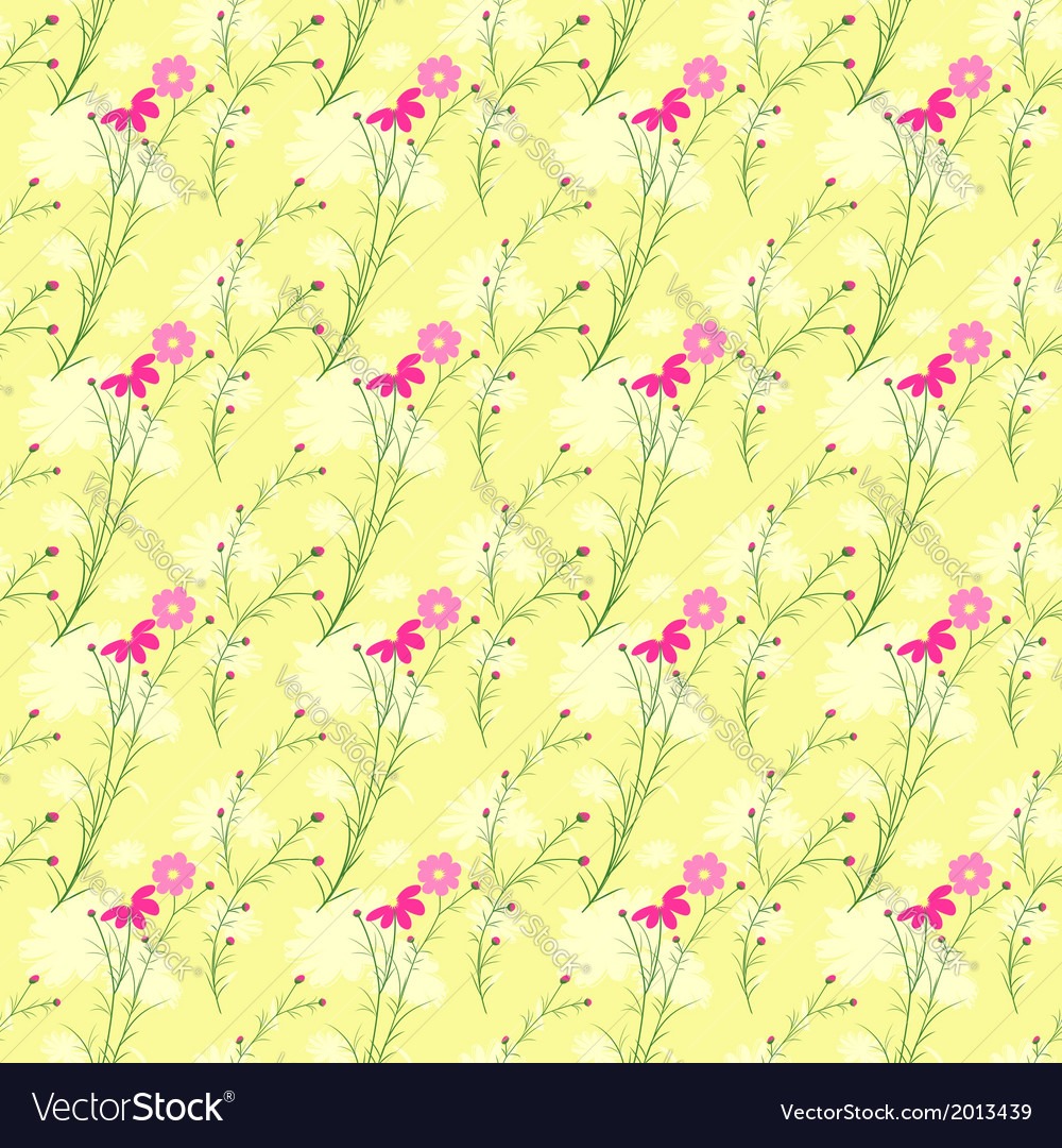 Springtime colorful cosmos flower seamless pattern vector | Price: 1 Credit (USD $1)