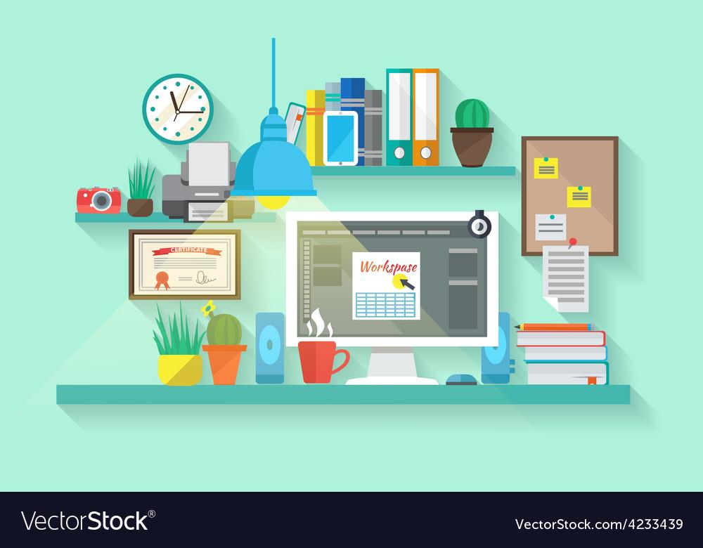 Workspace in room vector | Price: 1 Credit (USD $1)