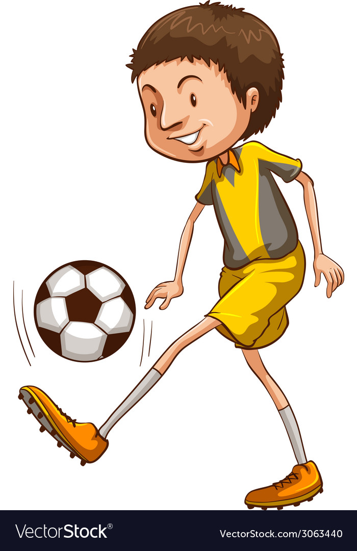 A coloured sketch of a boy playing soccer vector | Price: 1 Credit (USD $1)