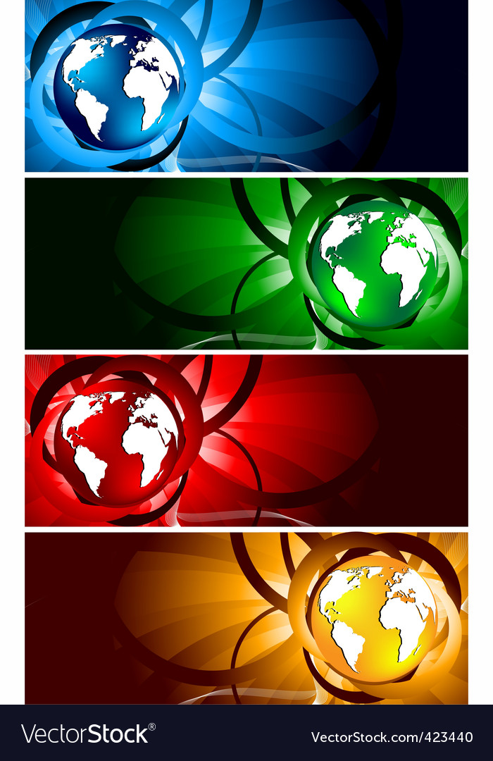 bright banners with globe vector | Price: 1 Credit (USD $1)