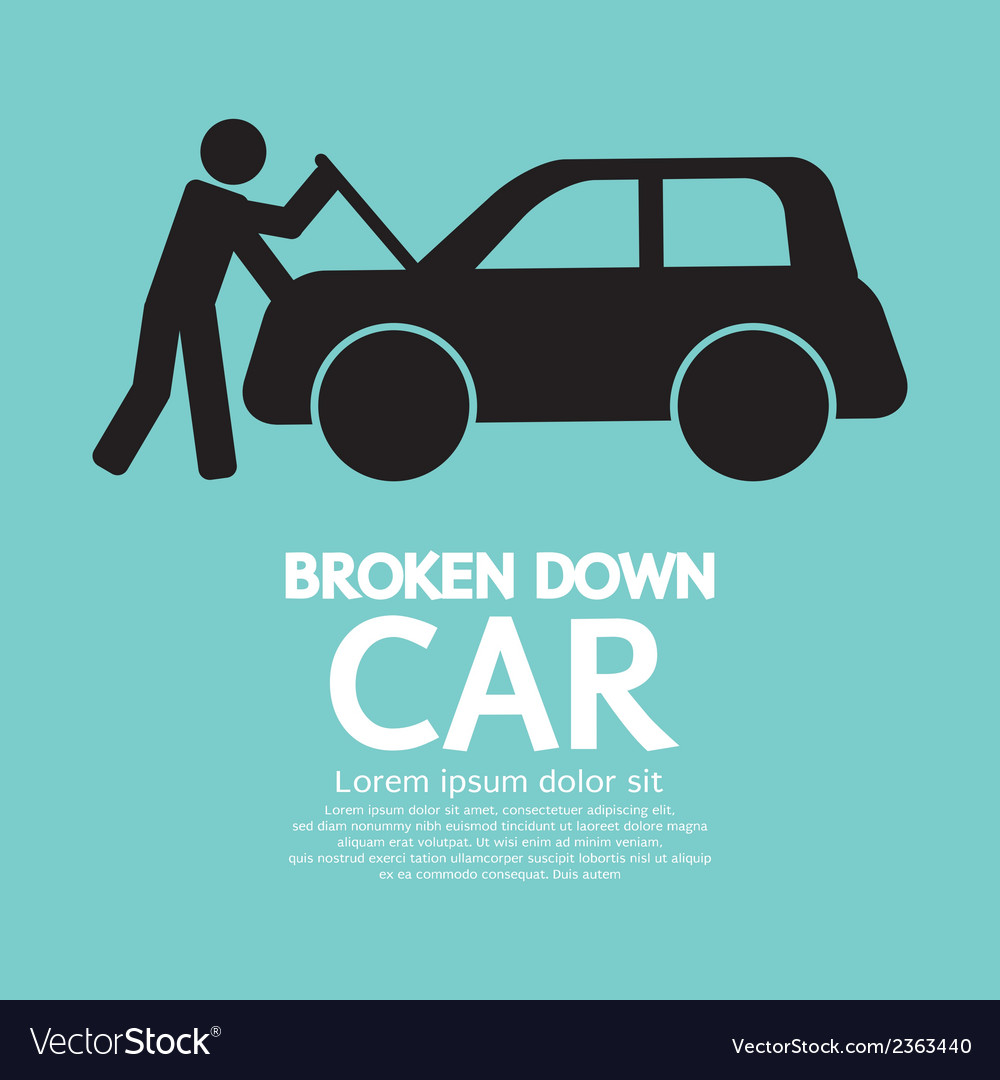 Broken down car vector | Price: 1 Credit (USD $1)