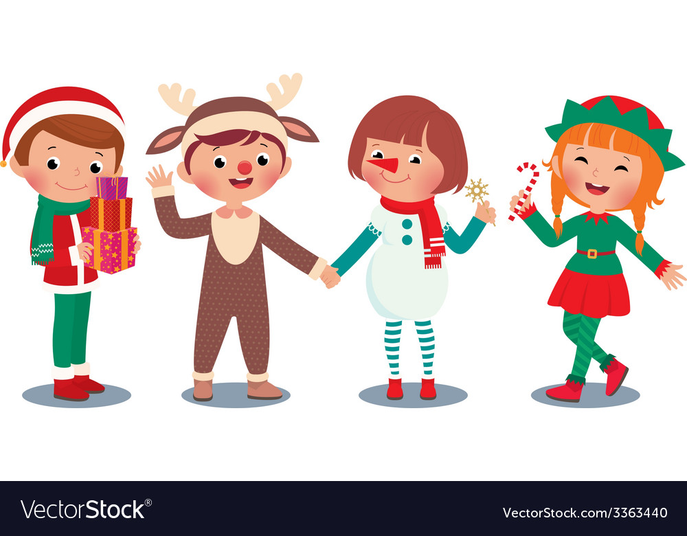 Children celebrating christmas in christmas costum vector | Price: 1 Credit (USD $1)