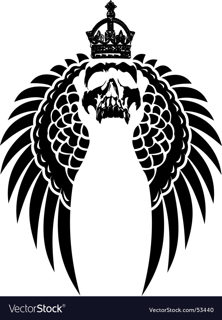 Crowned skull on wings vector | Price: 1 Credit (USD $1)