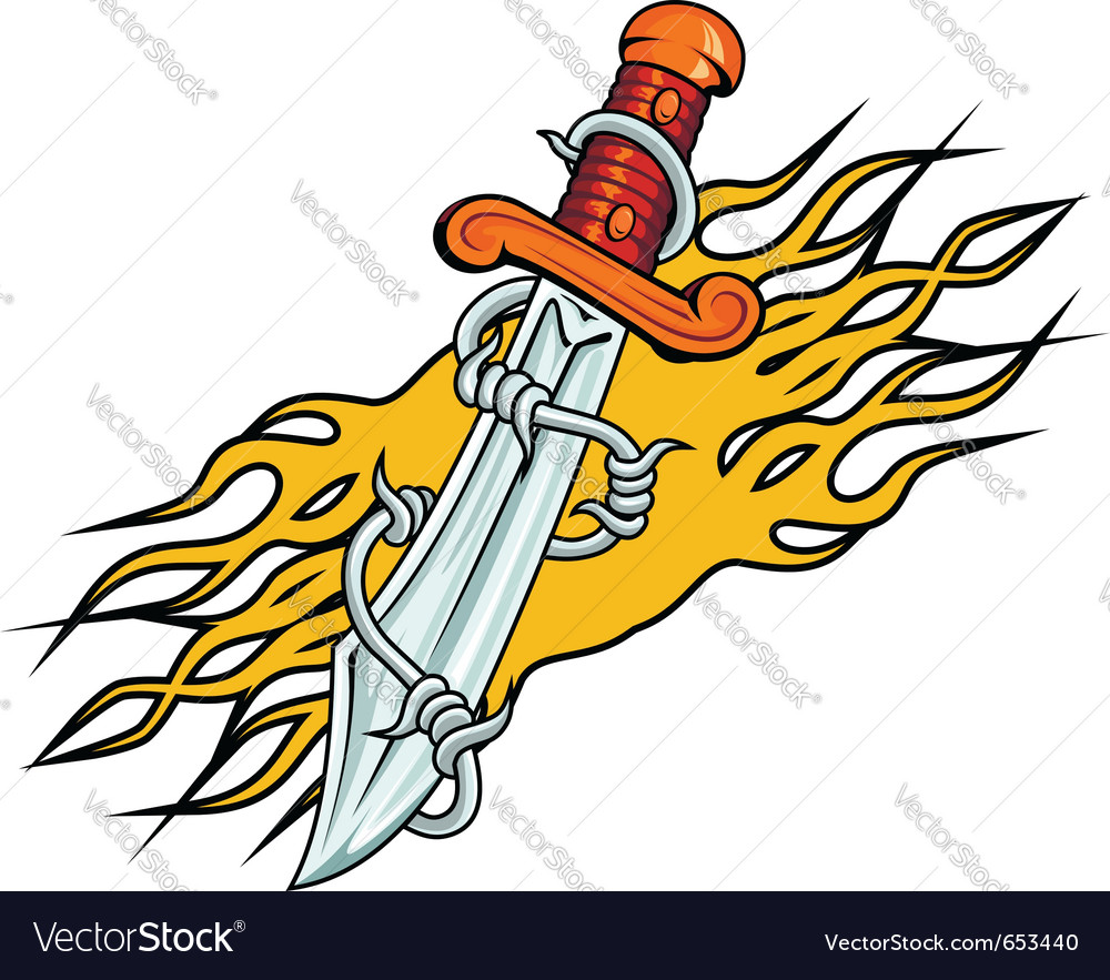 Dagger with barbed wire vector | Price: 1 Credit (USD $1)