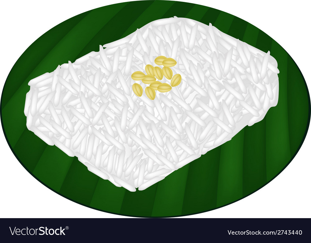 Delicious sweet sticky rice on banana leaf vector | Price: 1 Credit (USD $1)