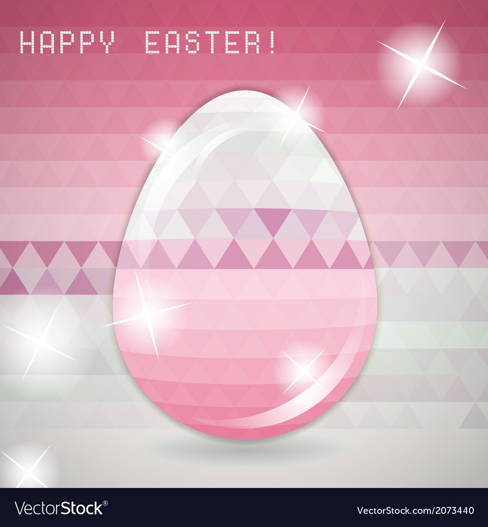 Easter egg pink crystall triangle greeting card vector | Price: 1 Credit (USD $1)