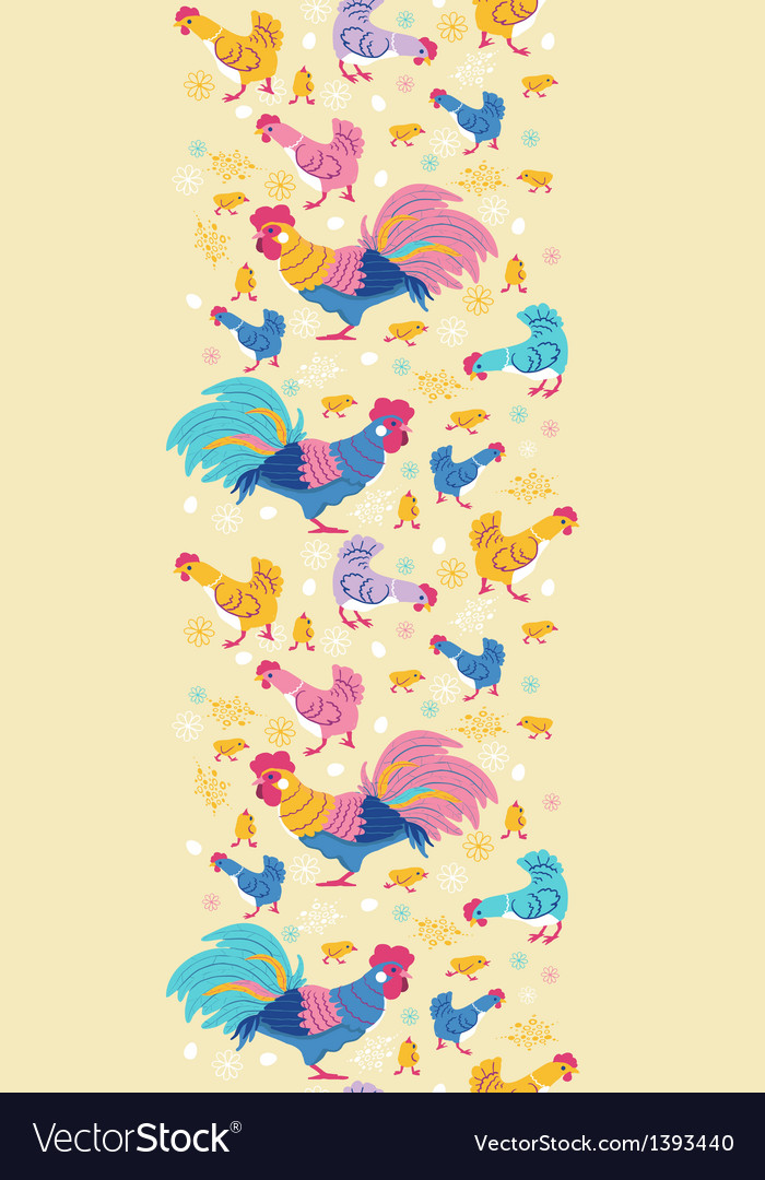 Fun chickens vertical seamless pattern background vector | Price: 1 Credit (USD $1)