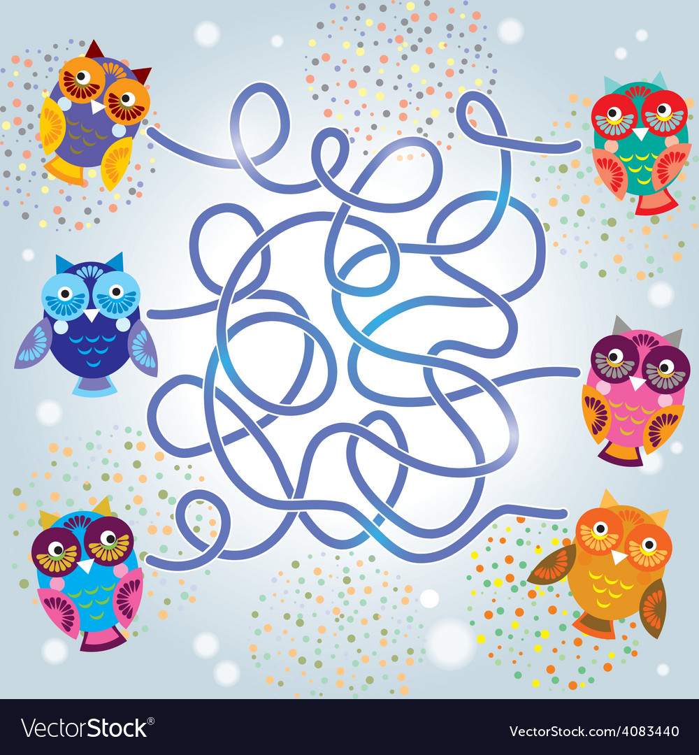 Funny owls labyrinth game for preschool children vector | Price: 1 Credit (USD $1)