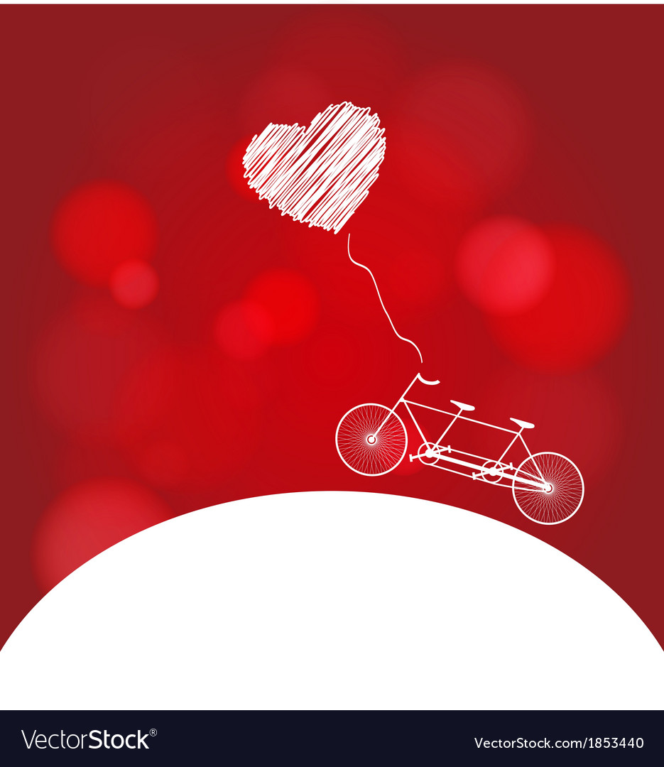 Romantic bicycle heart background vector | Price: 1 Credit (USD $1)