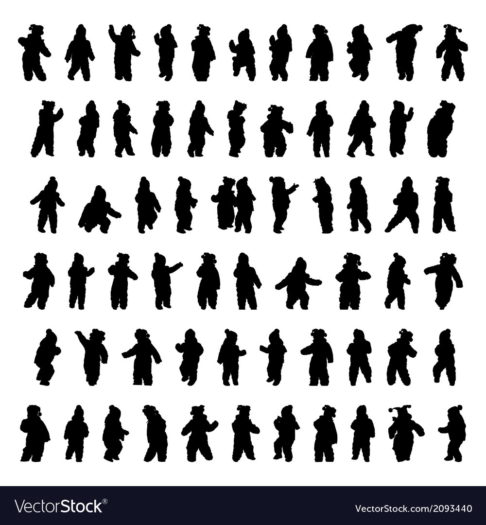 Silhouettes of children vector   Price: 1 Credit (USD $1)