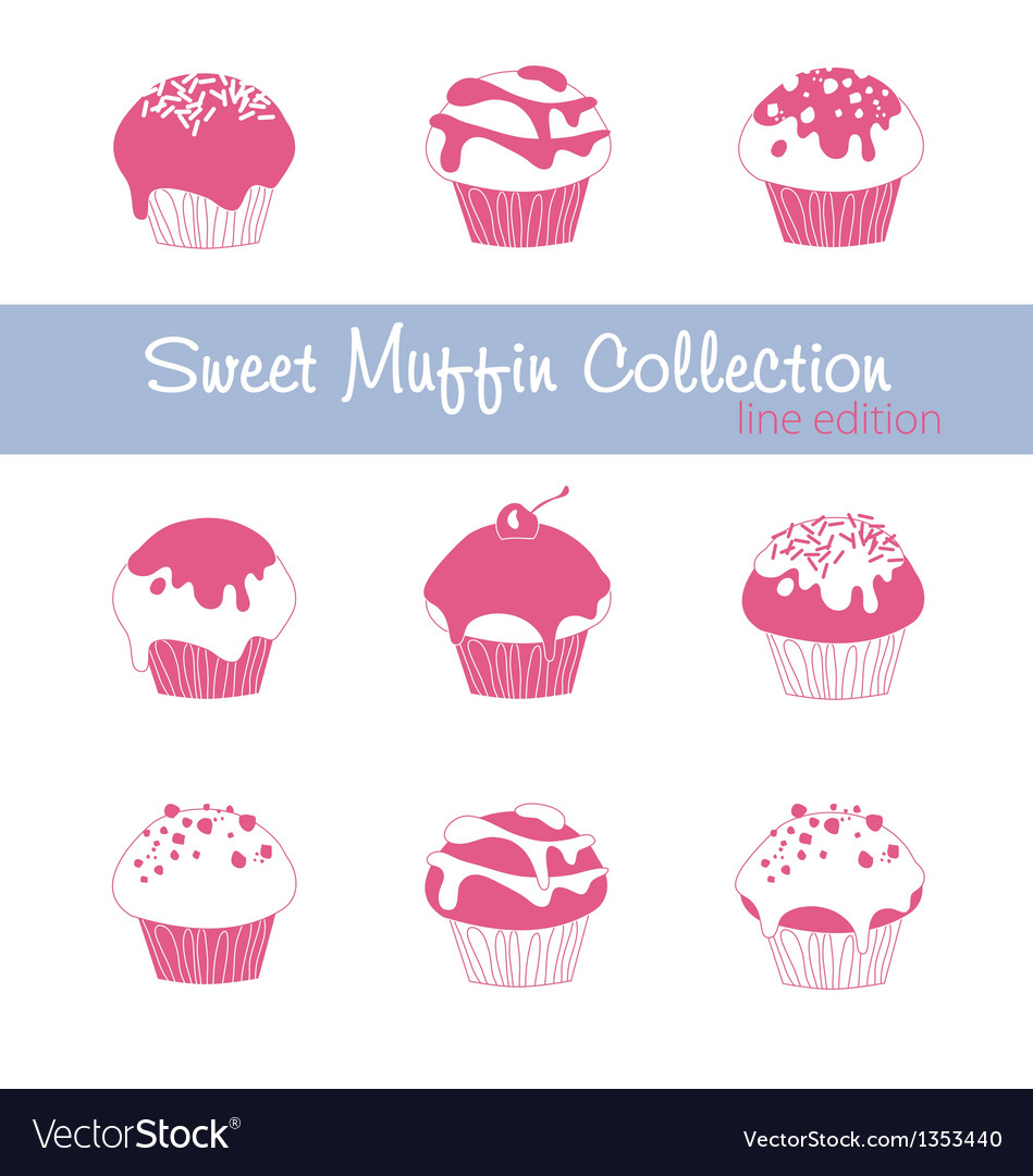 Sweet muffin collection lined vector | Price: 1 Credit (USD $1)