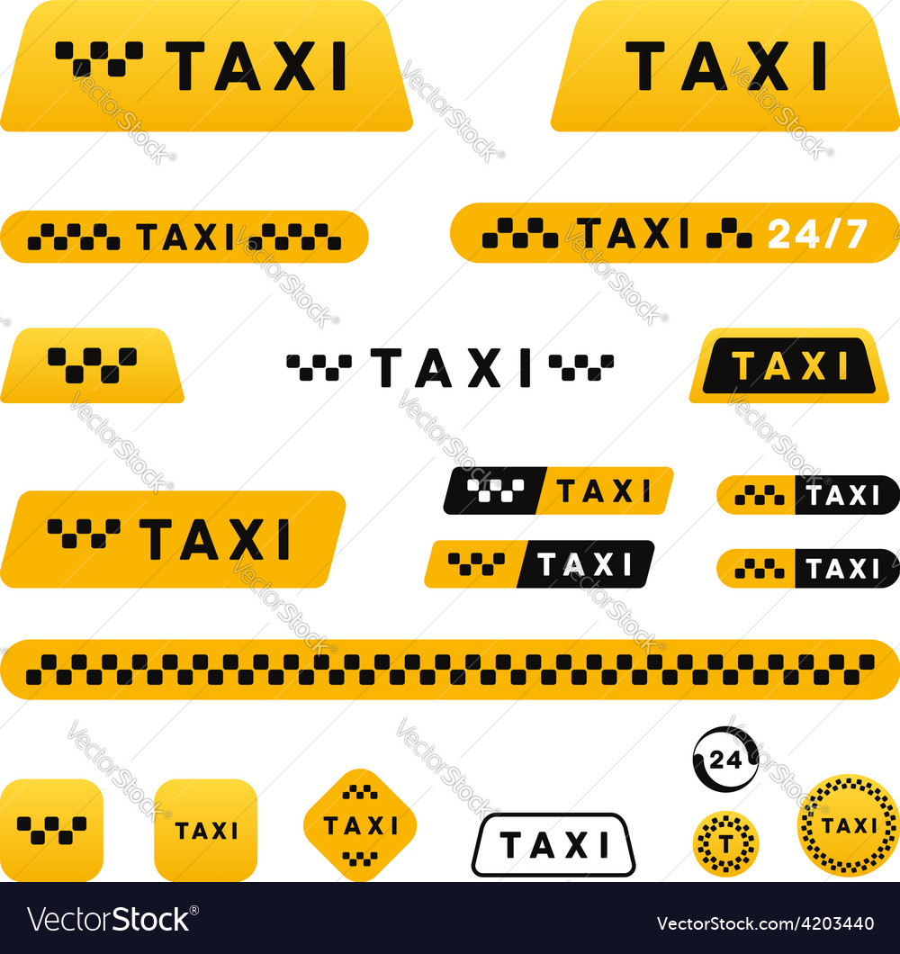 Taxi stylish set of logos icons and stickers vector | Price: 1 Credit (USD $1)