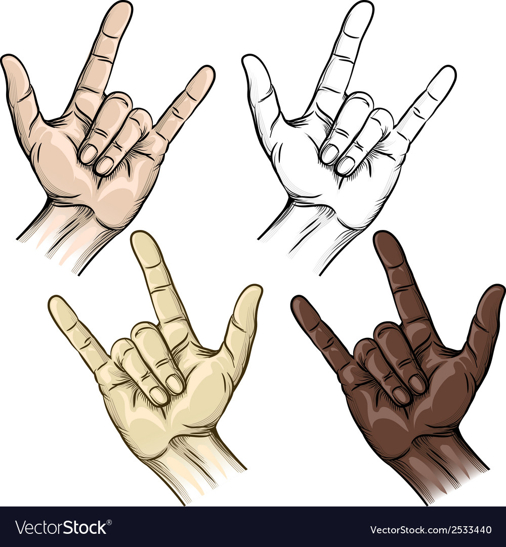 Unity and horns gesture vector | Price: 1 Credit (USD $1)