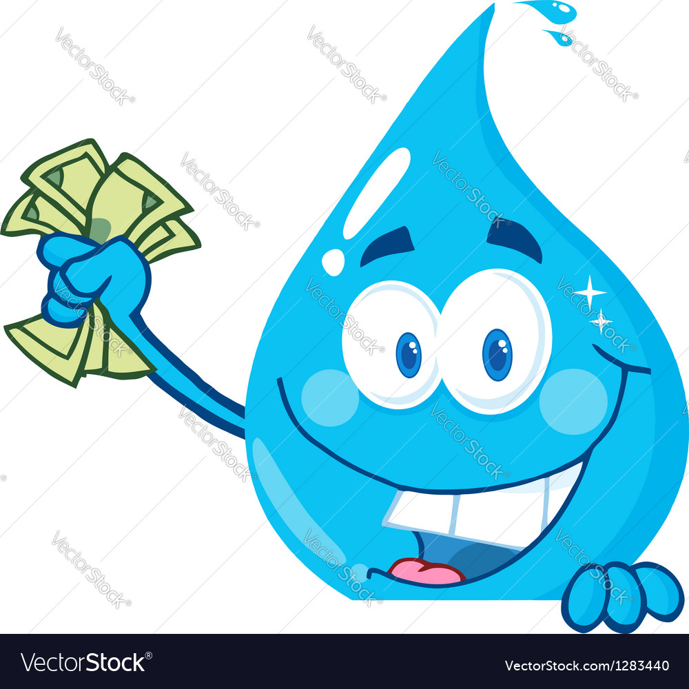 Water drop holding money over a sign vector | Price: 1 Credit (USD $1)
