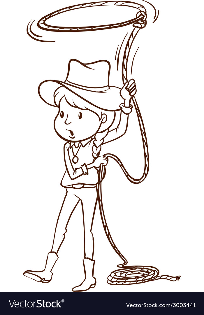 A plain sketch of a cowgirl vector | Price: 1 Credit (USD $1)