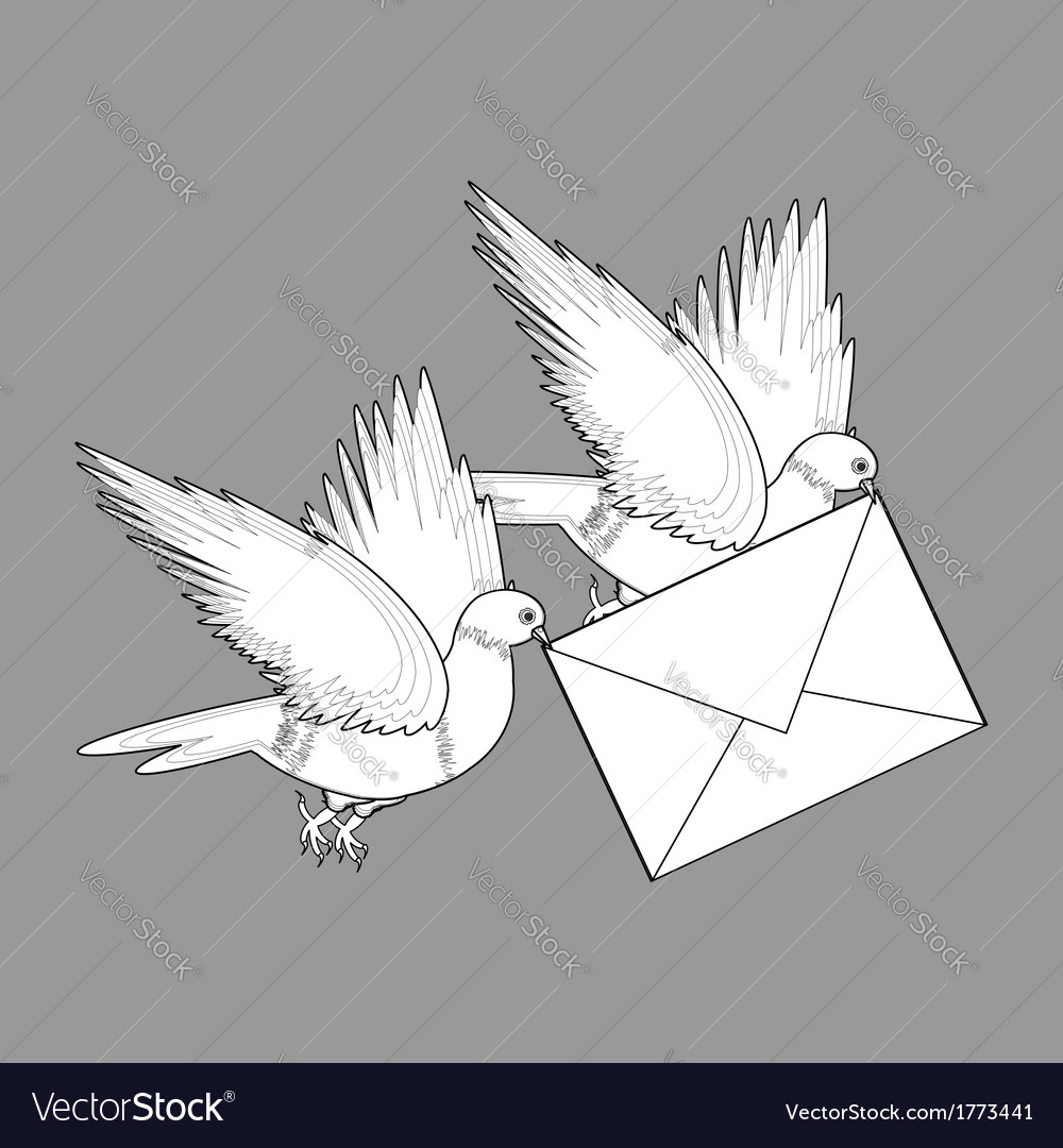 A sketch of two flying doves with a letter vector | Price: 1 Credit (USD $1)