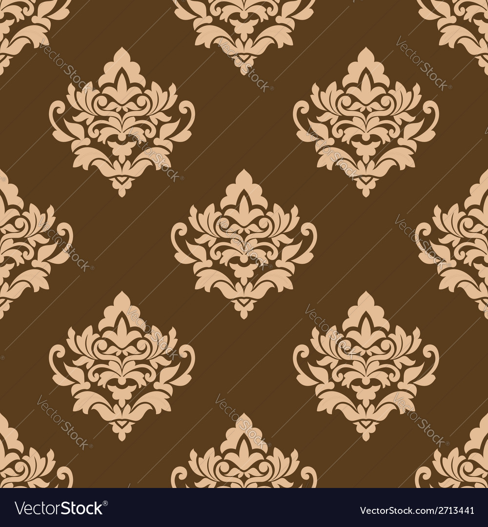 Beige colored on brown floral arabesque seamless vector | Price: 1 Credit (USD $1)
