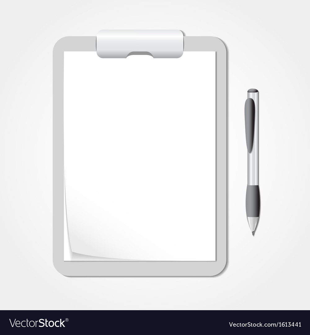 Clipboard with sheets of paper and a pen vector | Price: 1 Credit (USD $1)