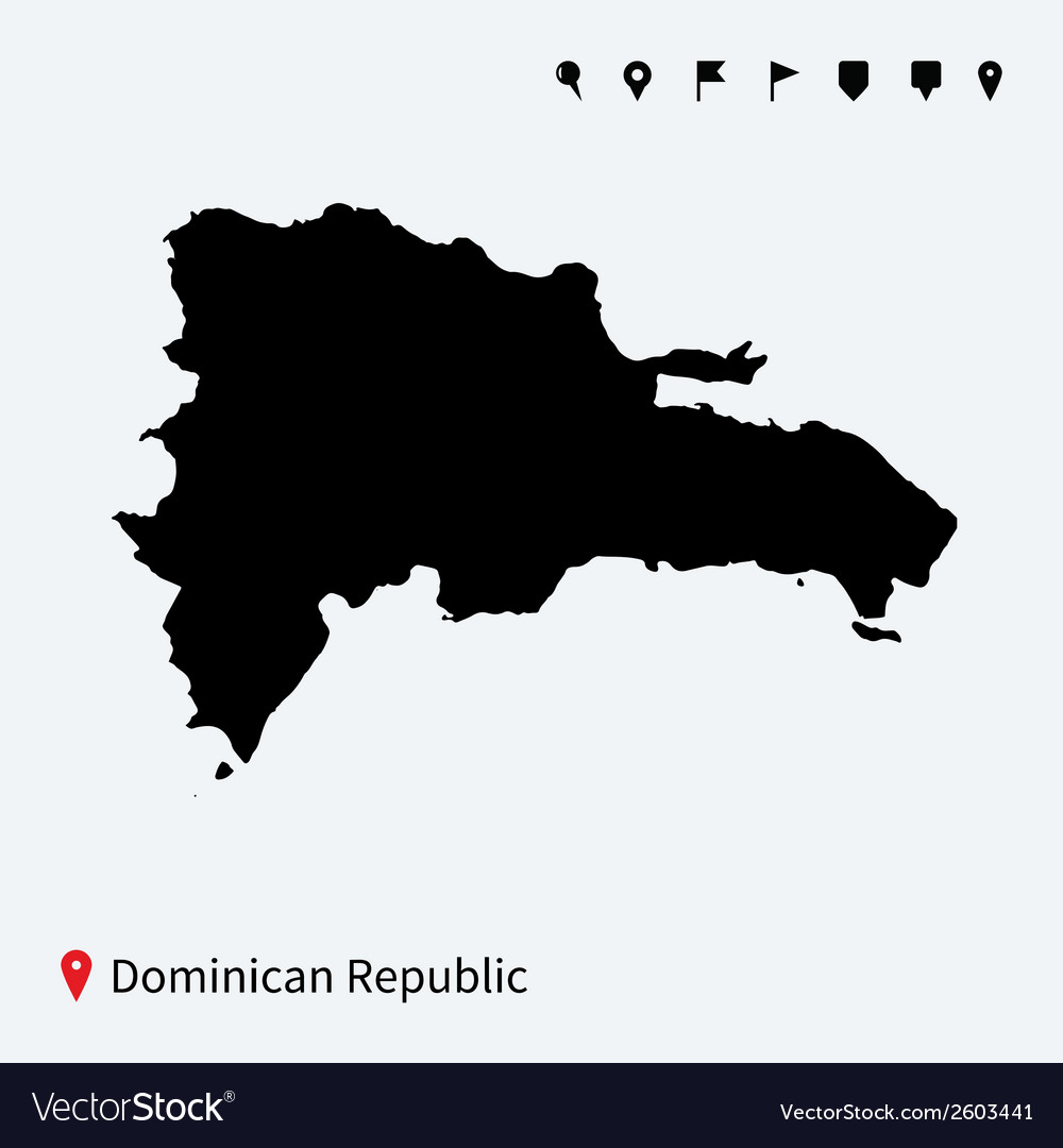 High detailed map of dominican republic with pins vector | Price: 1 Credit (USD $1)