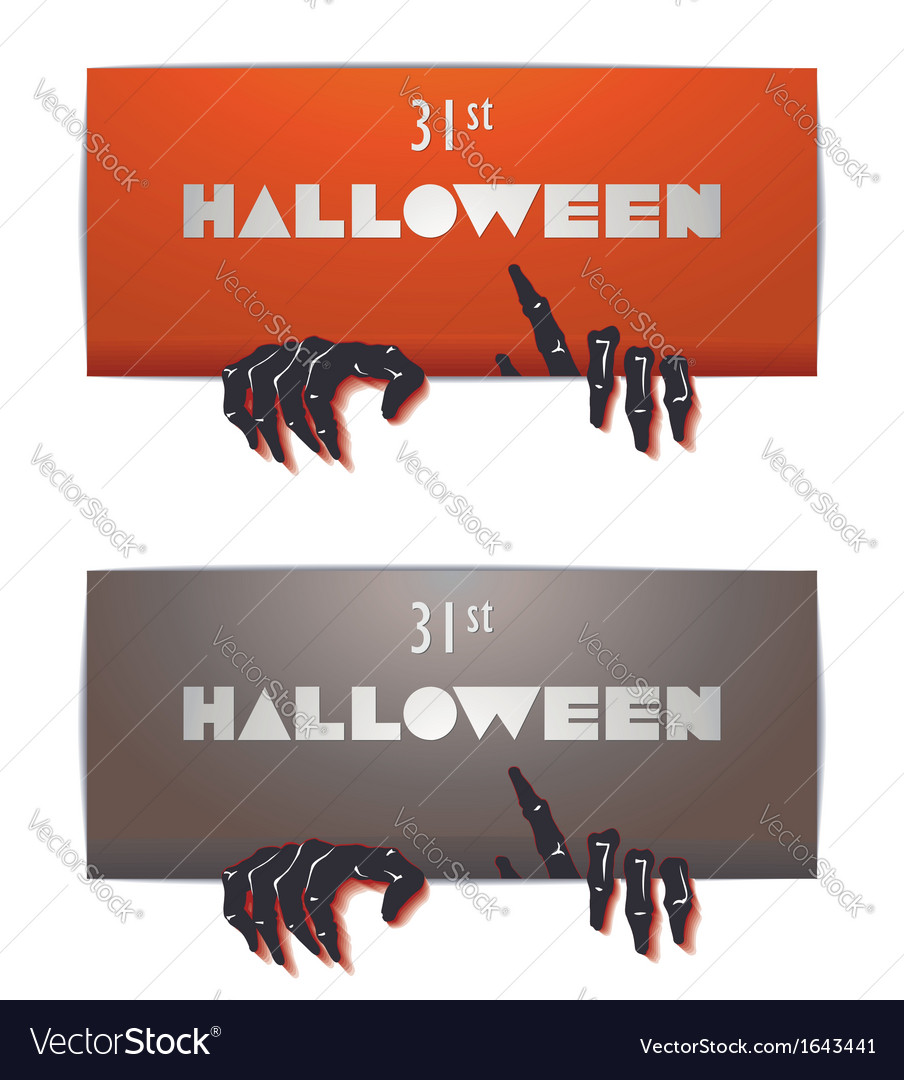 Just halloween party poster with zombie hand vector | Price: 1 Credit (USD $1)
