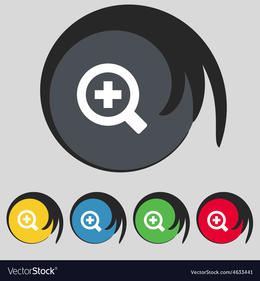 Magnifier glass zoom tool icon sign symbol on five vector | Price: 1 Credit (USD $1)