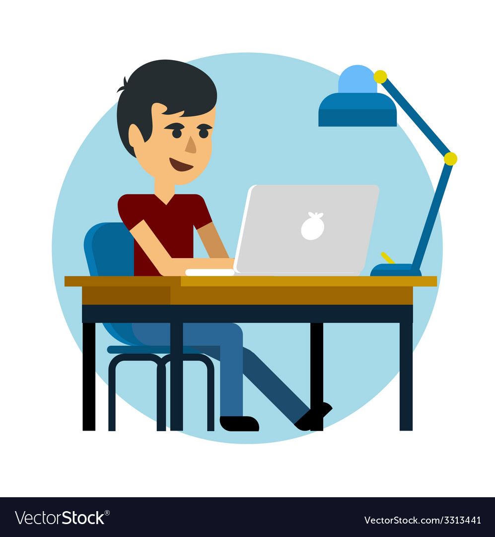 Man working with laptop vector | Price: 1 Credit (USD $1)