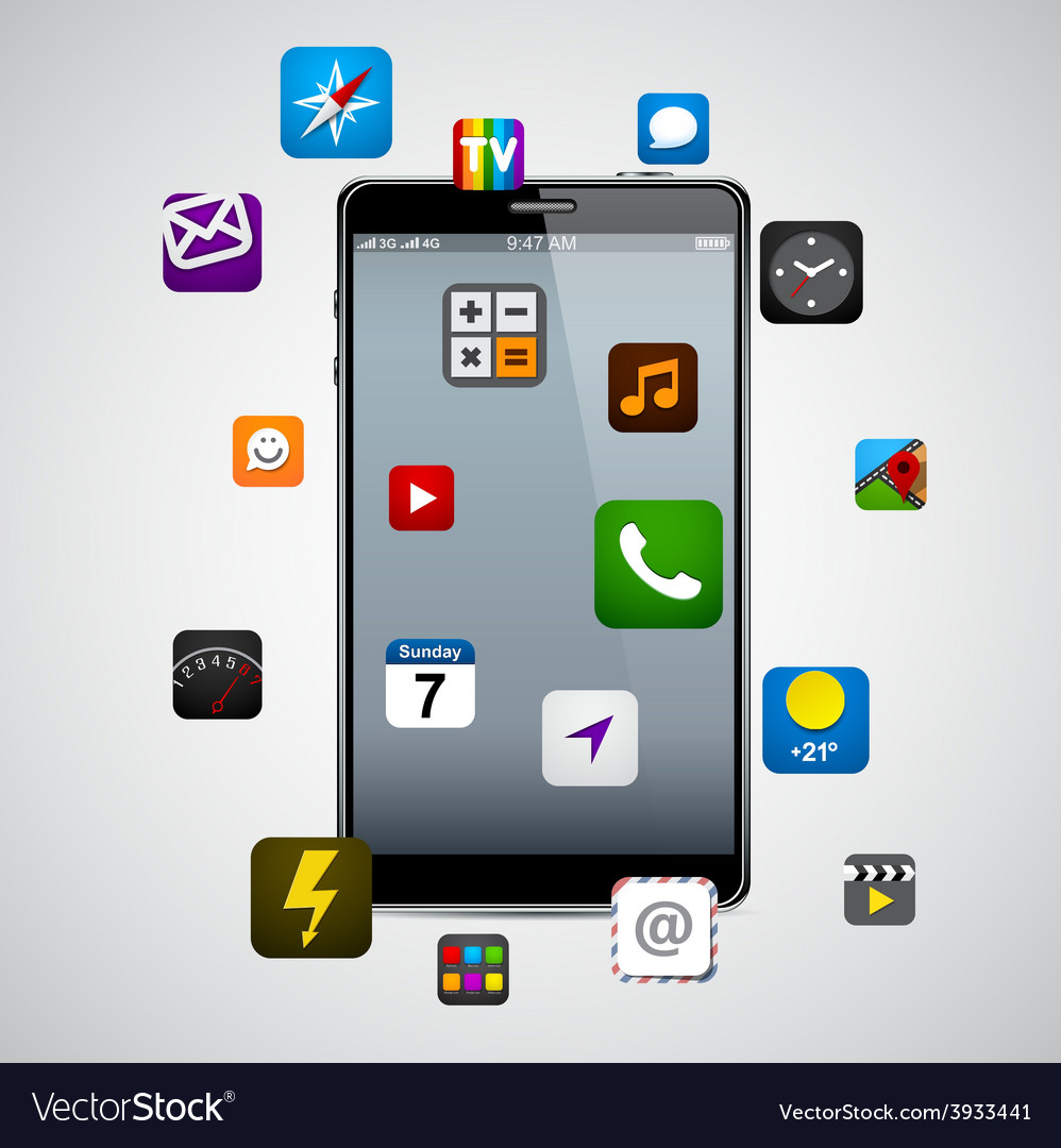 Modern smartphone with apps vector | Price: 1 Credit (USD $1)