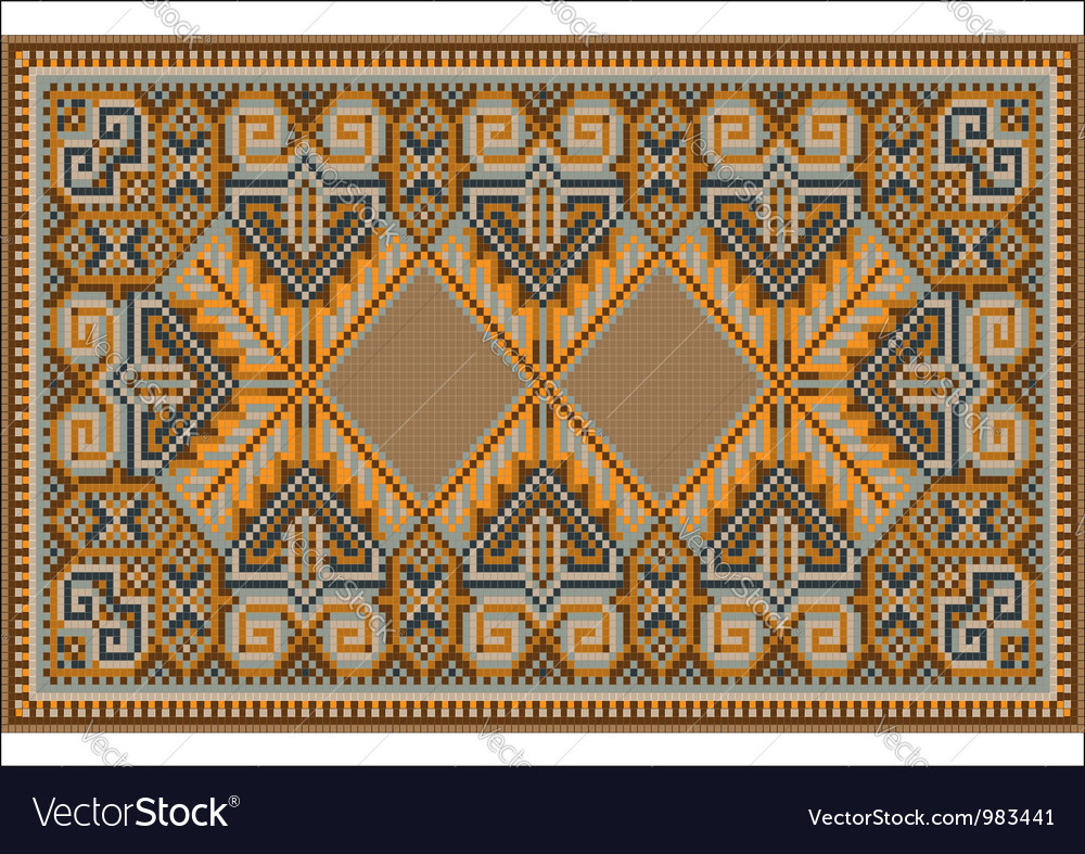 Oriental rug in warm orange brown nuances vector | Price: 1 Credit (USD $1)