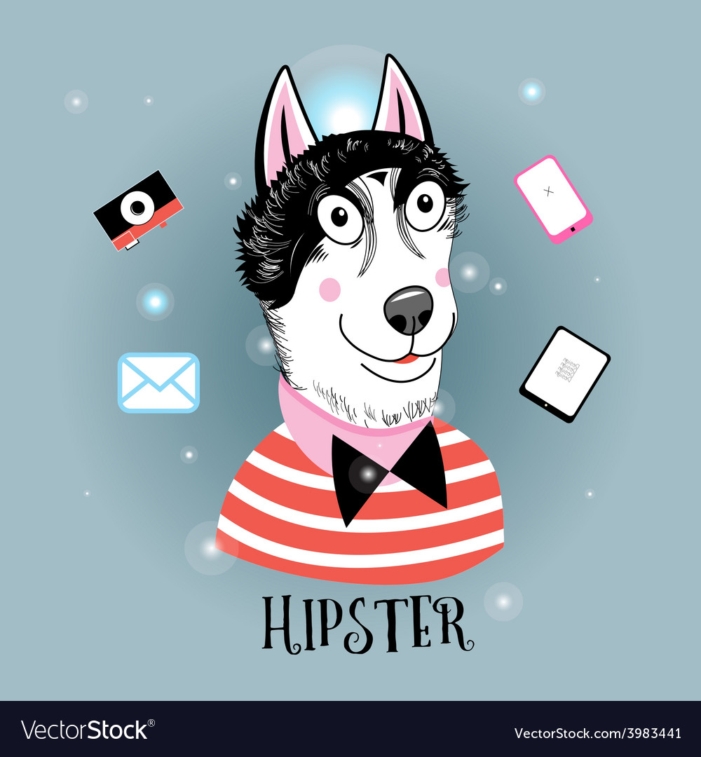 Portrait of a wolf hipster vector | Price: 1 Credit (USD $1)