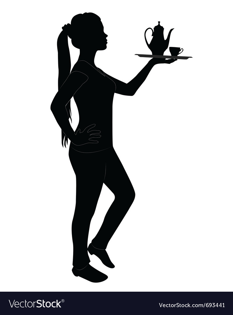 Silhouette of waitress vector | Price: 1 Credit (USD $1)