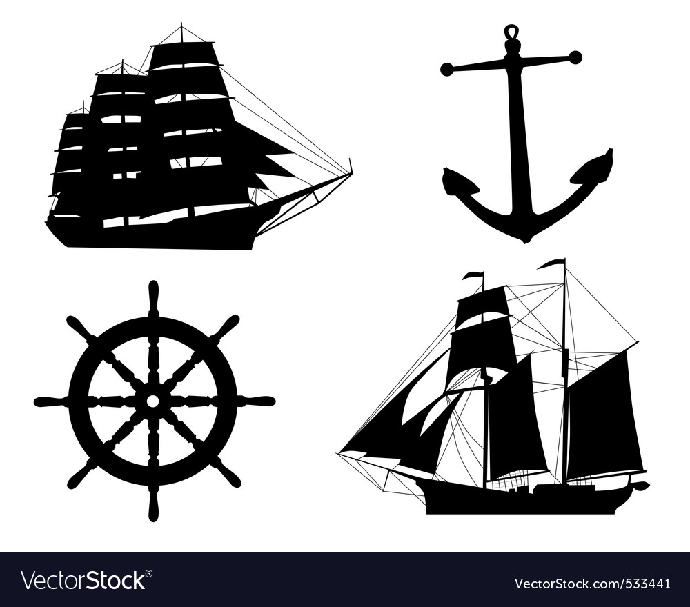Silhouettes of sailboats anchors and steering whee vector | Price: 1 Credit (USD $1)