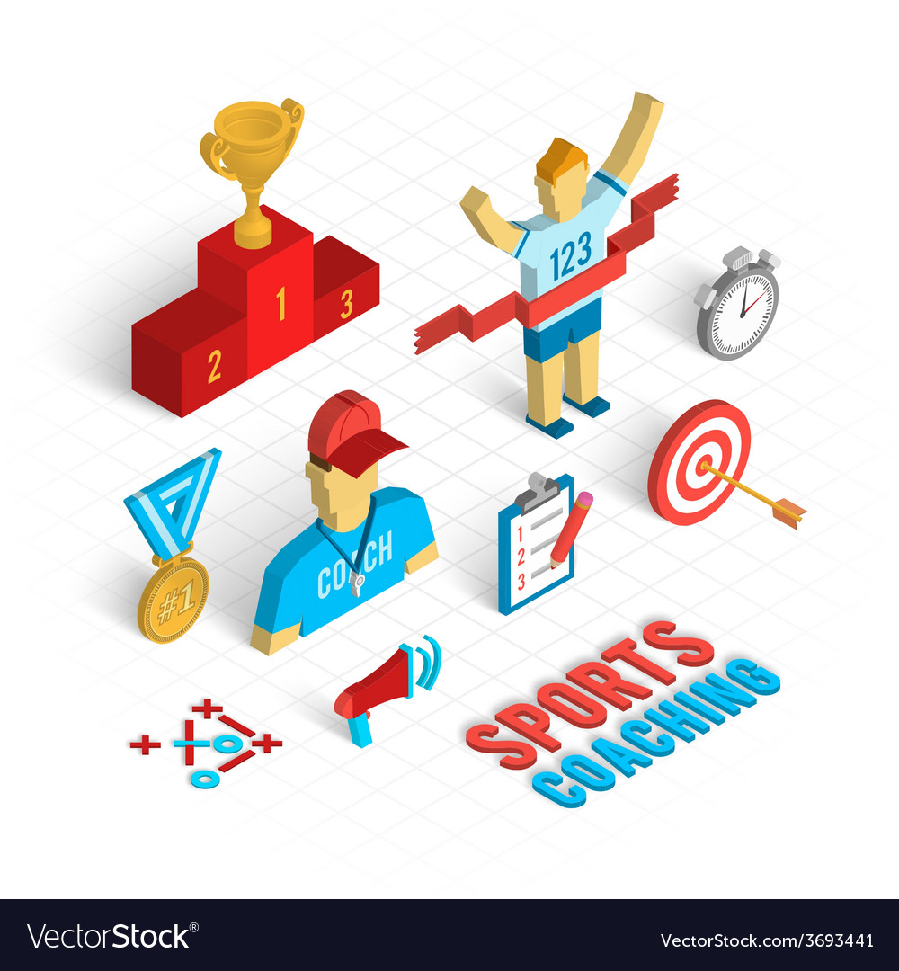 Sport coaching isometric set vector | Price: 1 Credit (USD $1)